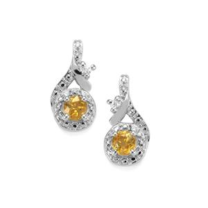 Morafeno Sphene Earrings with White Zircon in Sterling Silver 0.91cts