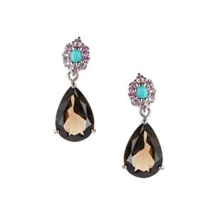 Smokey Quartz Earrings with Pink Sapphire in Sterling Silver 13.44cts