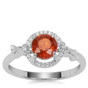Loliondo Orange Kyanite Ring with White Zircon in Sterling Silver 1.15cts