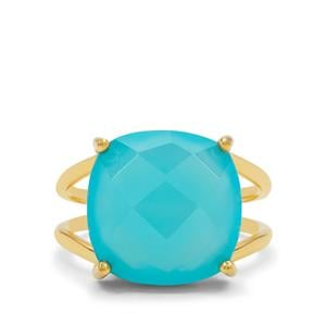 Aqua Chalcedony Ring in Gold Plated Sterling Silver 8.50cts