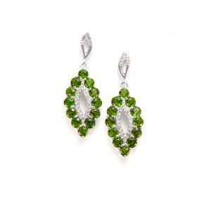 Chrome Diopside & White Topaz Sterling Silver Earrings ATGW 3.69cts
