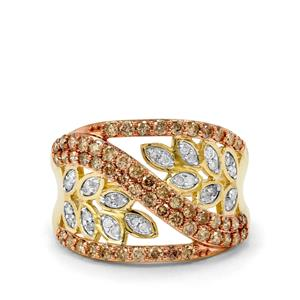 Champagne Diamond Ring with White Diamond in 10K Gold 1ct