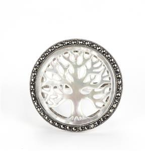 Mother of Pearl & Natural Marcasite Sterling Silver Jewels of Valais Ring