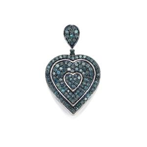 1ct Blue Diamond Sterling Silver Pendant