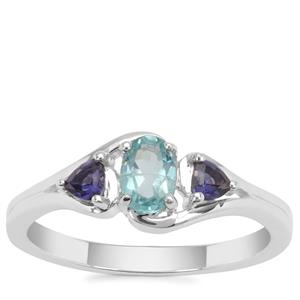 Madagascan Blue Apatite Ring with Iolite in Sterling Silver 0.58ct