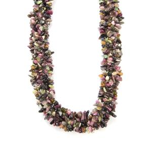 Rainbow Tourmaline Nugget Necklace in Sterling Silver 540cts