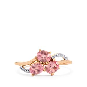 Mozambique Pink Spinel Ring with Diamond in 9K Rose Gold 1.11cts