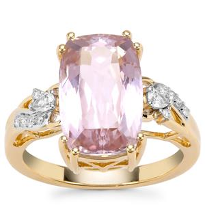 Kolum Kunzite Ring with White Diamond in 18K Gold 7.13cts