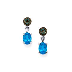 Neon Apatite & Blue Diamond 9K White Gold Earrings ATGW 1.57cts