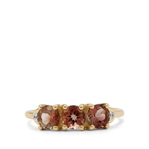Watermelon Oregon Sunstone Ring with White Zircon in 9K Gold 1.45cts