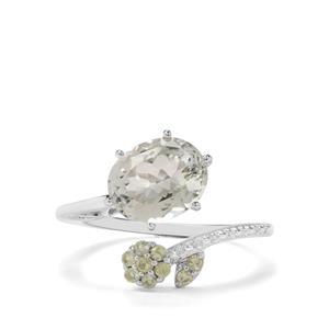 Prasiolite & Changbai Peridot Sterling Silver Ring ATGW 3.11cts