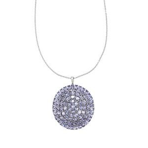 16.31ct AA Tanzanite Platinum Plated Sterling Silver Pendant Necklace