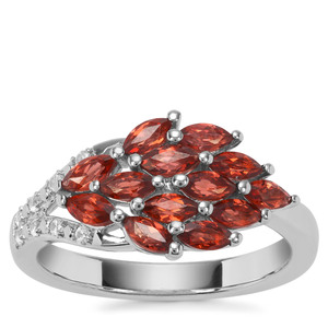 Nampula Garnet Ring with White Zircon in Sterling Silver 1.64cts