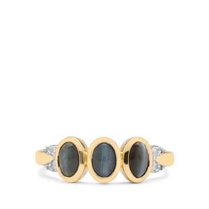 Cats Eye Alexandrite & White Zircon 9K Gold Ring ATGW 1.85cts