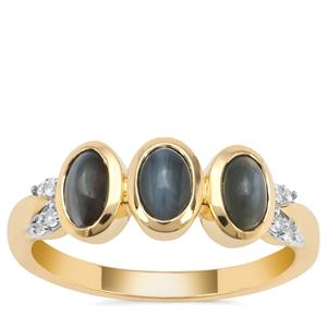 Cats Eye Alexandrite Ring with White Zircon in 9K Gold 1.85cts