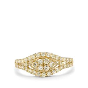 Natural Yellow Diamond Ring in 9K Gold 0.79ct