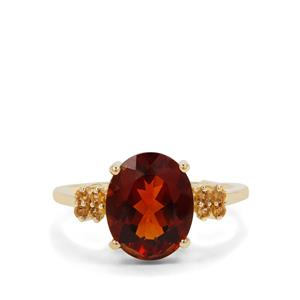 Madeira Citrine Ring with Diamantina Citrine in 9K Gold 3.19cts