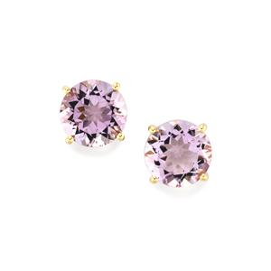 6.55ct Rose De France Amethyst 10K Gold Earrings