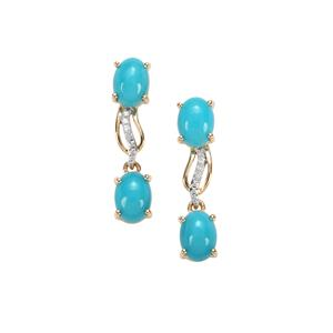Sleeping Beauty Turquoise Earrings with Diamond in 10K Gold 3.07cts