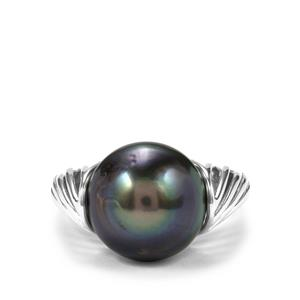 Tahitian Cultured Pearl Sterling Silver Ring (13mm X 12mm)