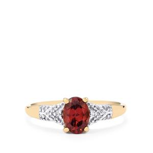 Zanzibar Zircon Ring with Diamond in 10k Gold 1.30cts