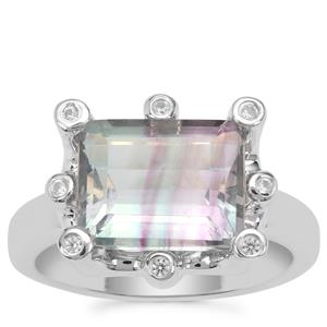 Zebra Fluorite Ring with White Zircon in Sterling Silver 5.42cts