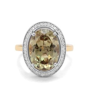 Csarite® Ring with Diamond in 18K Two Tone Gold 7.42cts
