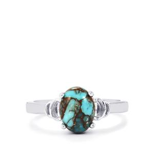 Egyptian Turquoise Ring in Sterling Silver 1.91cts