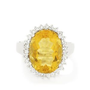 Yellow Fluorite & White Topaz Sterling Silver Ring ATGW 11.81cts