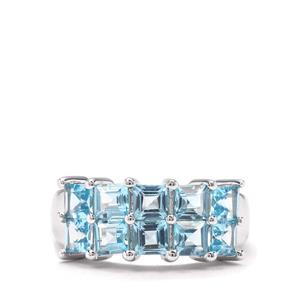 2.78ct Electric Blue Topaz Sterling Silver Ring