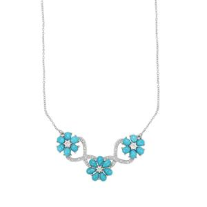 Sleeping Beauty Turquoise Necklace with White Zircon in Sterling Silver 8.63cts