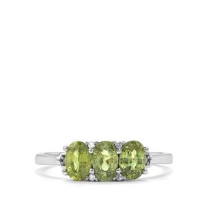 Ambanja Demantoid Garnet Ring with Diamond in 10K White Gold 1.51cts