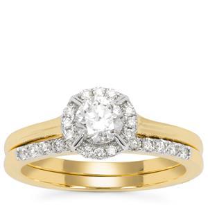 Diamond Set of 2 Stracker Ring in 18K Gold 0.77ct