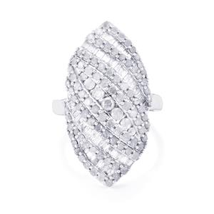 Diamond Ring in Sterling Silver 2cts