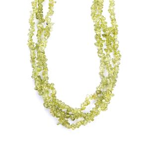 392.41ct Changbai Peridot Sterling Silver Necklace