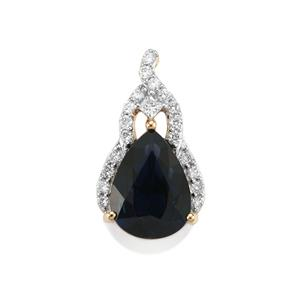 Natural Nigerian Sapphire Pendant with Diamond in 18k Gold 1.82cts