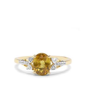 Ambilobe Sphene & White Zircon 9K Gold Ring ATGW 1.56cts