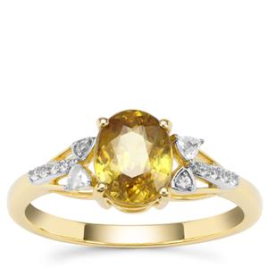 Ambilobe Sphene Ring with White Zircon in 9K Gold 1.56cts