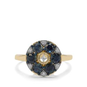 Australian Blue Sapphire Ring with White Zircon in 9K Gold 1.31cts