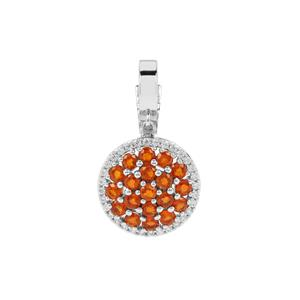 Loliondo Orange Kyanite Pendant with White Zircon in Platinum Plated Sterling Silver 3.82cts