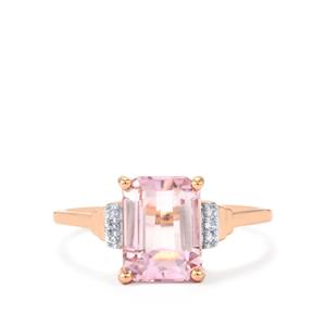 Minas Gerais Kunzite Ring with Diamond in 10K Rose Gold 2.64cts