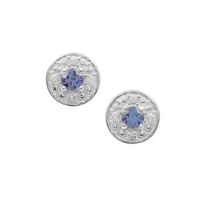 Tanzanite Earrings with White Zircon in Sterling Silver 0.80ct