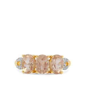 Oregon Peach Sunstone & White Zircon 9K Gold Ring ATGW 2.35cts