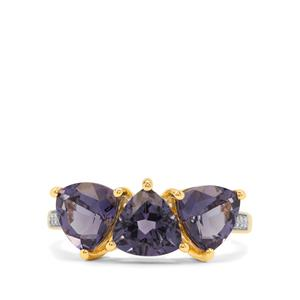 Blueberry Quartz Ring with White Diamond in 9K Gold 3.05cts