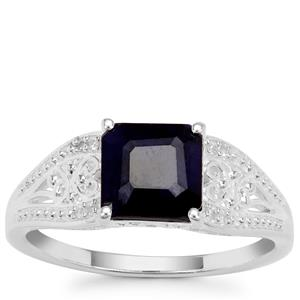Madagascan Blue Sapphire Ring with White Zircon in Sterling Silver 2cts