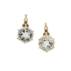 Wobito Snowflake Cut Prasiolite Earrings with Green Diamond in 9K Gold 4.35cts