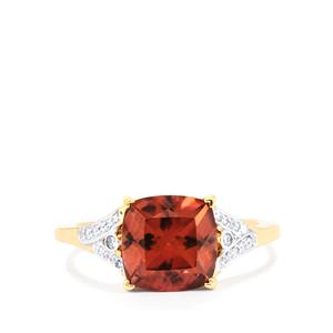 Zanzibar Zircon Ring with Diamond in 14k Gold 4.57cts