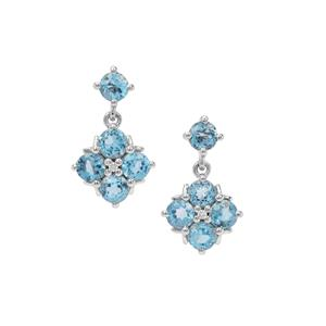 Swiss Blue Topaz & White Zircon Sterling Silver Earrings ATGW 2.50cts