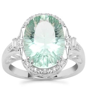 Tucson Green Fluorite Ring with White Zircon in Sterling Silver 6.59cts