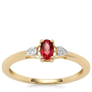 Burmese Red Spinel Ring with Diamond in 9K Gold 0.34ct